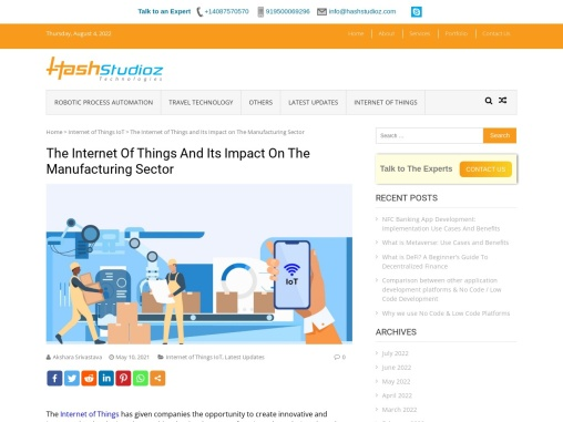 The Internet Of Things And Its Impact On The Manufacturing Sector