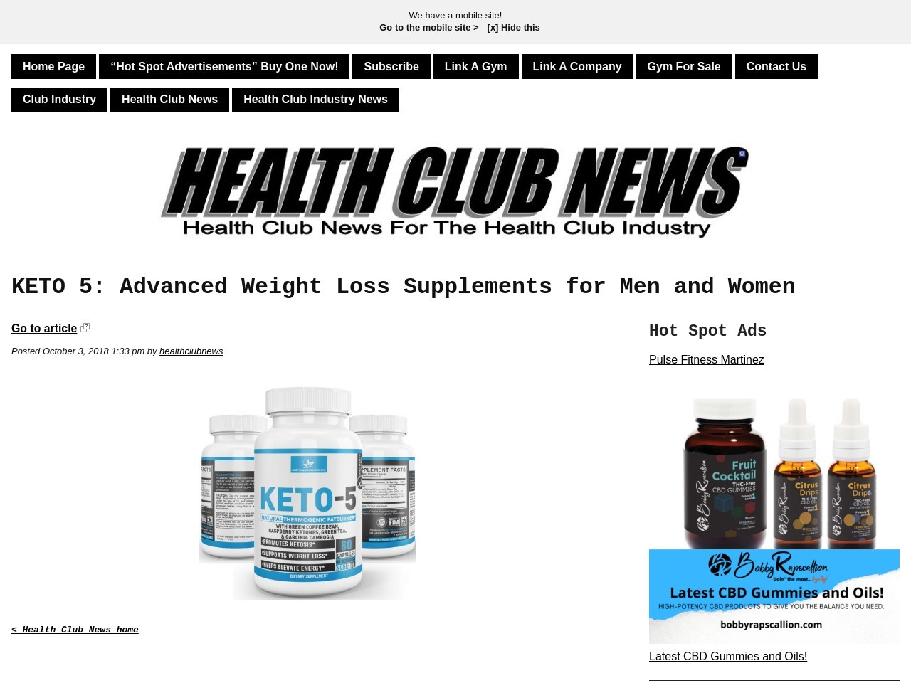KETO 5:  Advanced Weight Loss Supplements for Men and Women