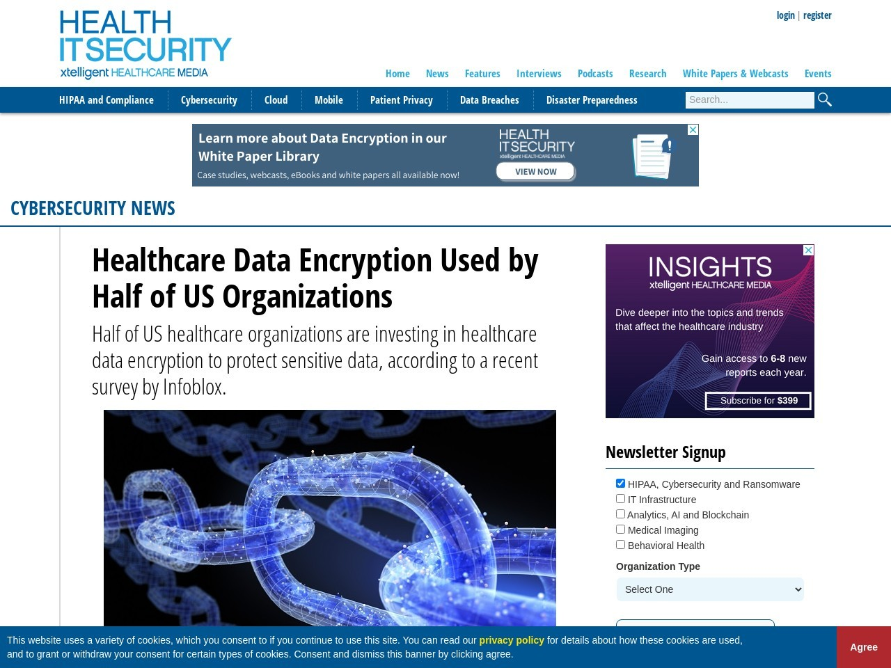 Healthcare Data Encryption Used by Half of US Organizations
