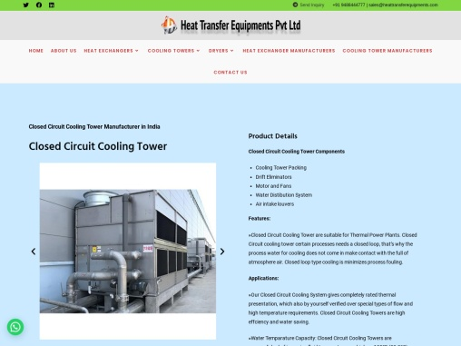 Closed Circuit Cooling Tower Manufacturers in India
