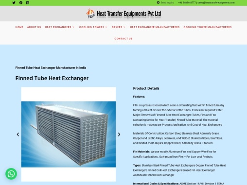Finned Tube Heat Exchanger Manufacturers India