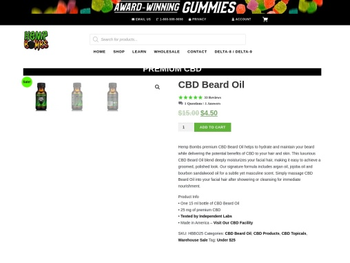 CBD Beard Oil Derived from Top Quality CBD Oil
