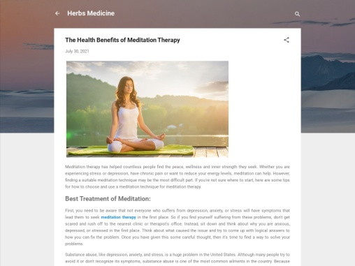 Meditation treatment – Meditation and Relaxation Techniques