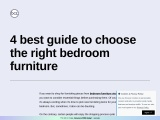 4 best guide to choose the right bedroom furniture