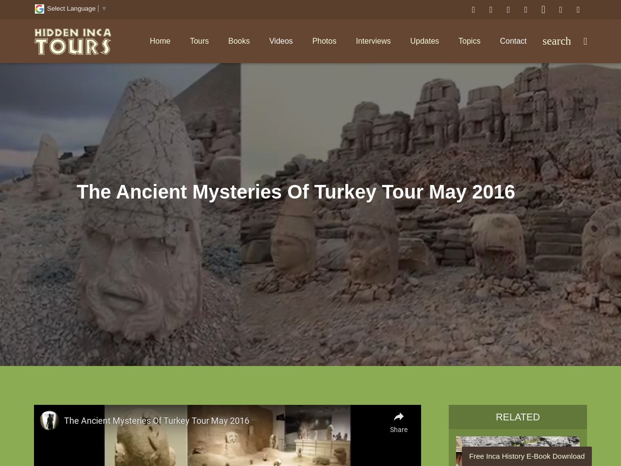 The Ancient Mysteries Of Turkey Tour May 2016