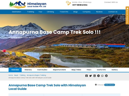 ANNAPURNA BASE CAMP TREK SOLO | GUIDE | COST | MAP