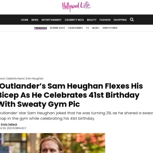 'Outlander's Sam Heughan Celebrates 41st Birthday With Sweaty Gym Pic – Hollywood Life