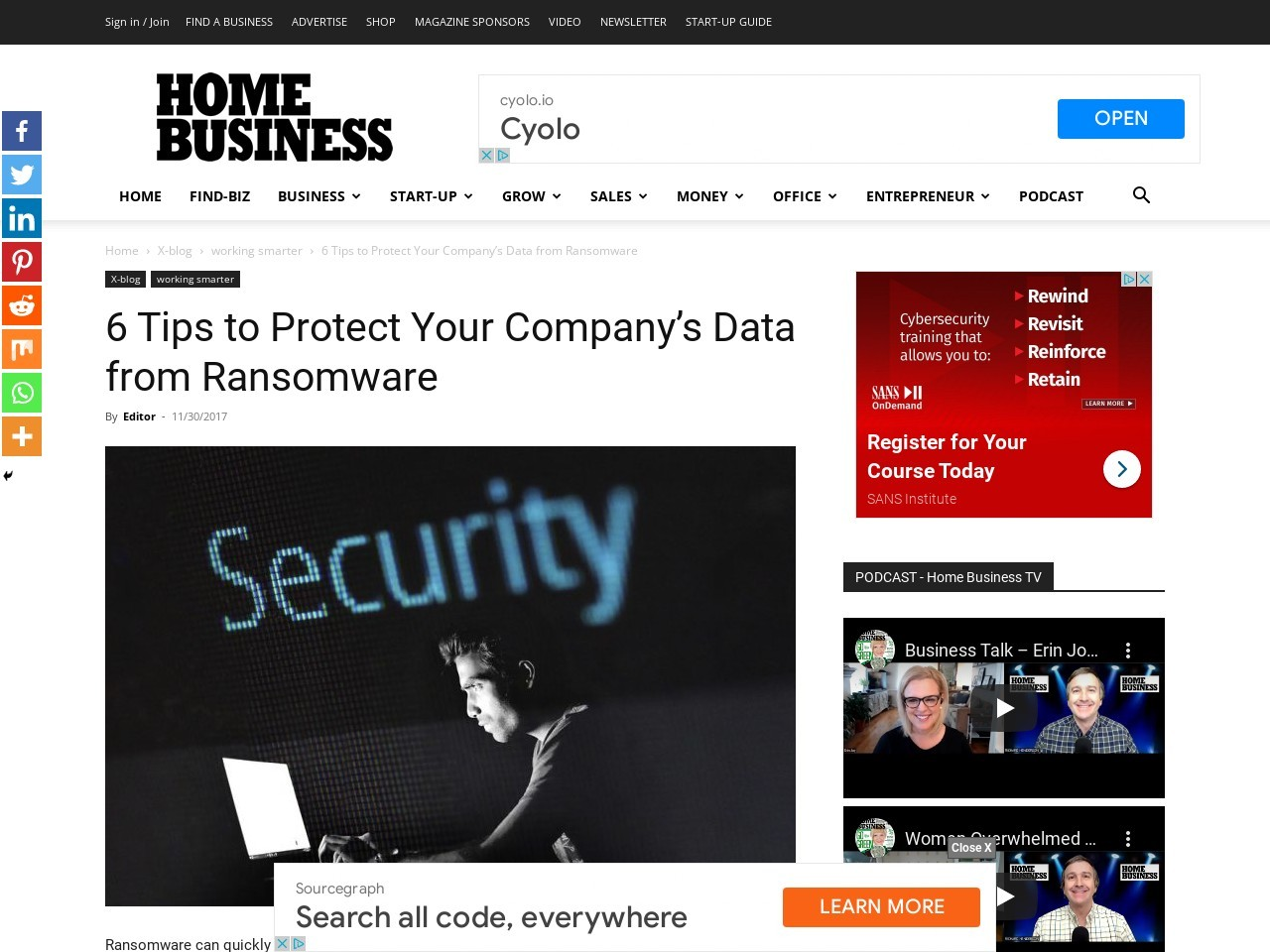 6 Tips to Protect Your Company's Data from Ransomware