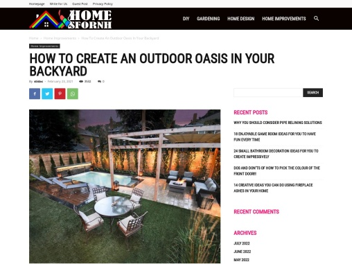 HOW TO CREATE AN OUTDOOR OASIS IN YOUR BACKYARD