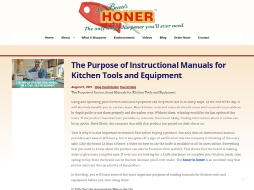 The Purpose of Instructional Manuals for Kitchen Tools and Equipment
