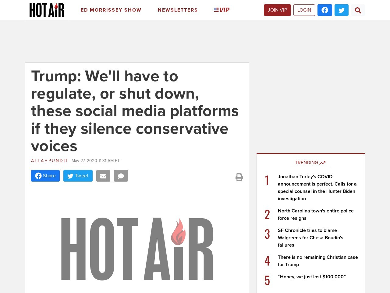 Trump: We'll have to regulate, or shut down, these social media platforms if they silence…