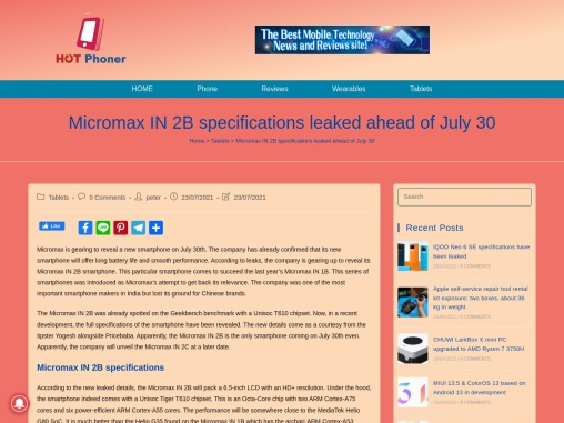 Micromax IN 2B specifications leaked ahead of July 30