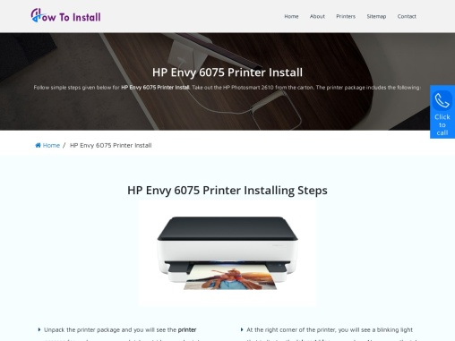 Simple Guide for HP Envy 6075 Printer Install & Driver Download