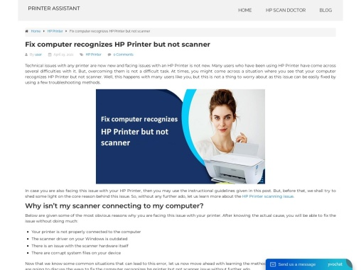 Fix computer recognizes HP Printer but not scanner