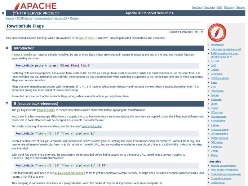 RewriteRule Flags | Apacheウェブサーバのリライトルールの設定