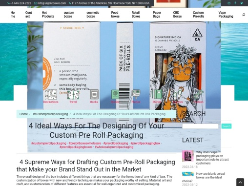 4 Ideal Ways For The Designing Of Your Custom Pre Roll Packaging