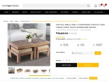 Coffee Table And 2 Cushioned Stools Teak Finish