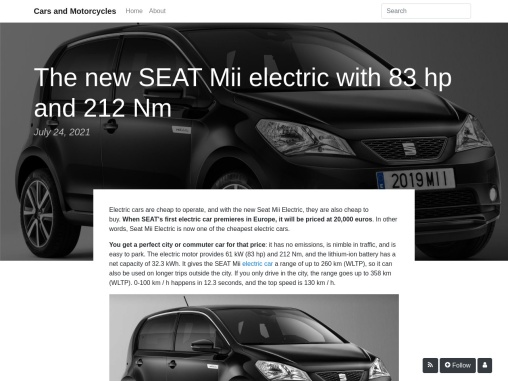 The new SEAT Mii electric with 83 hp and 212 Nm