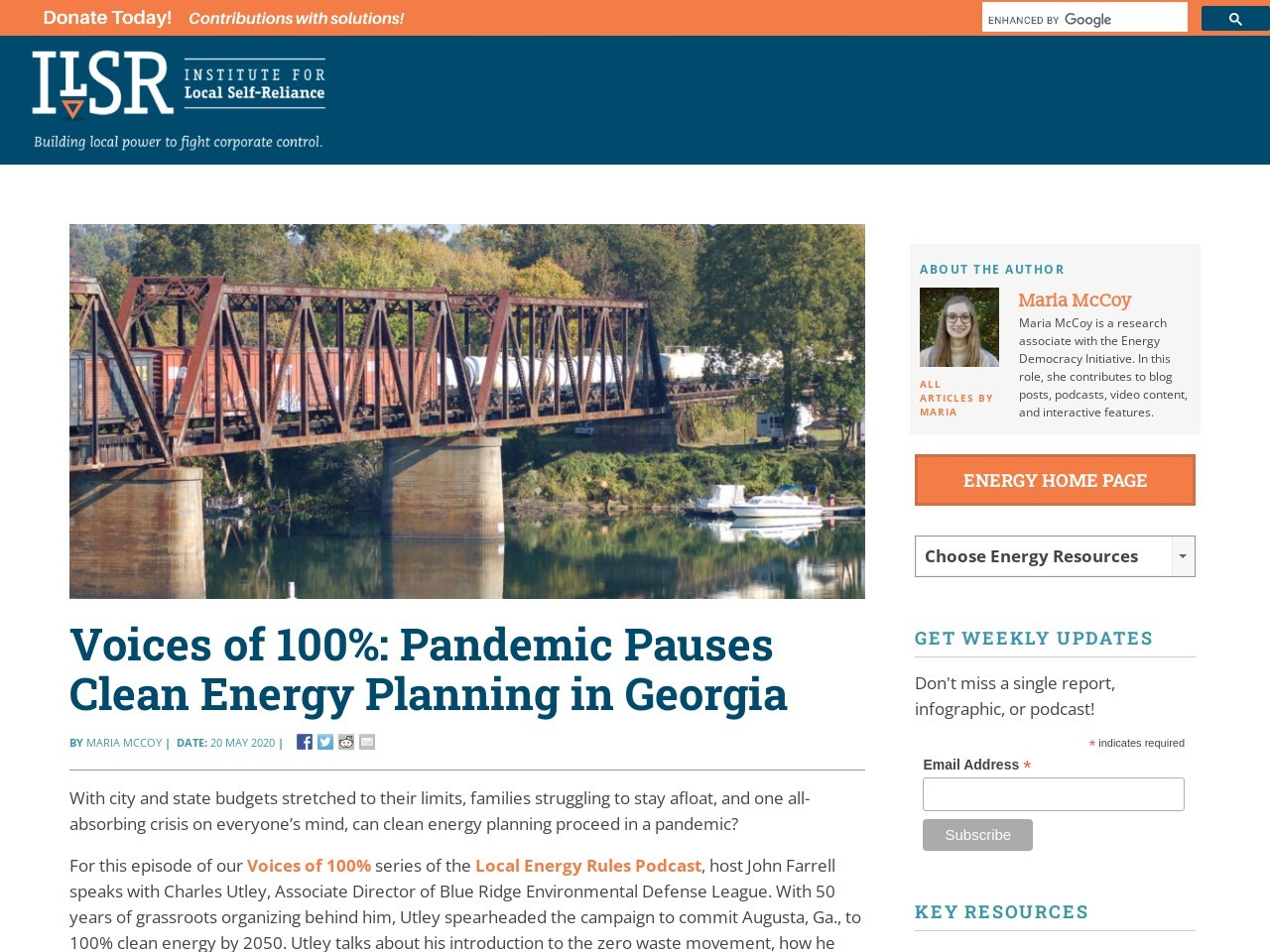 Voices of 100%: Pandemic Pauses Clean Energy Planning in Georgia