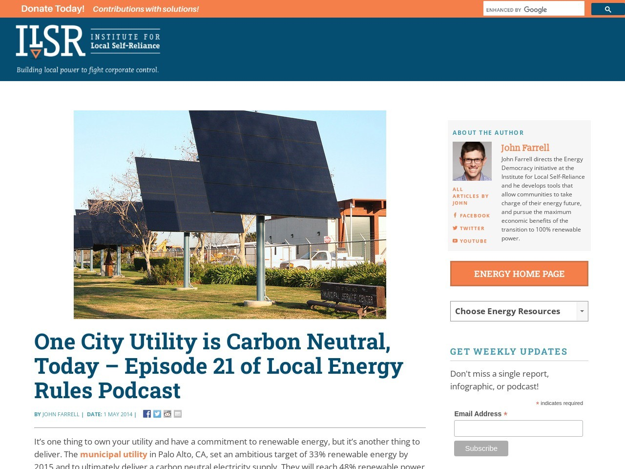 One City Utility is Carbon Neutral, Today