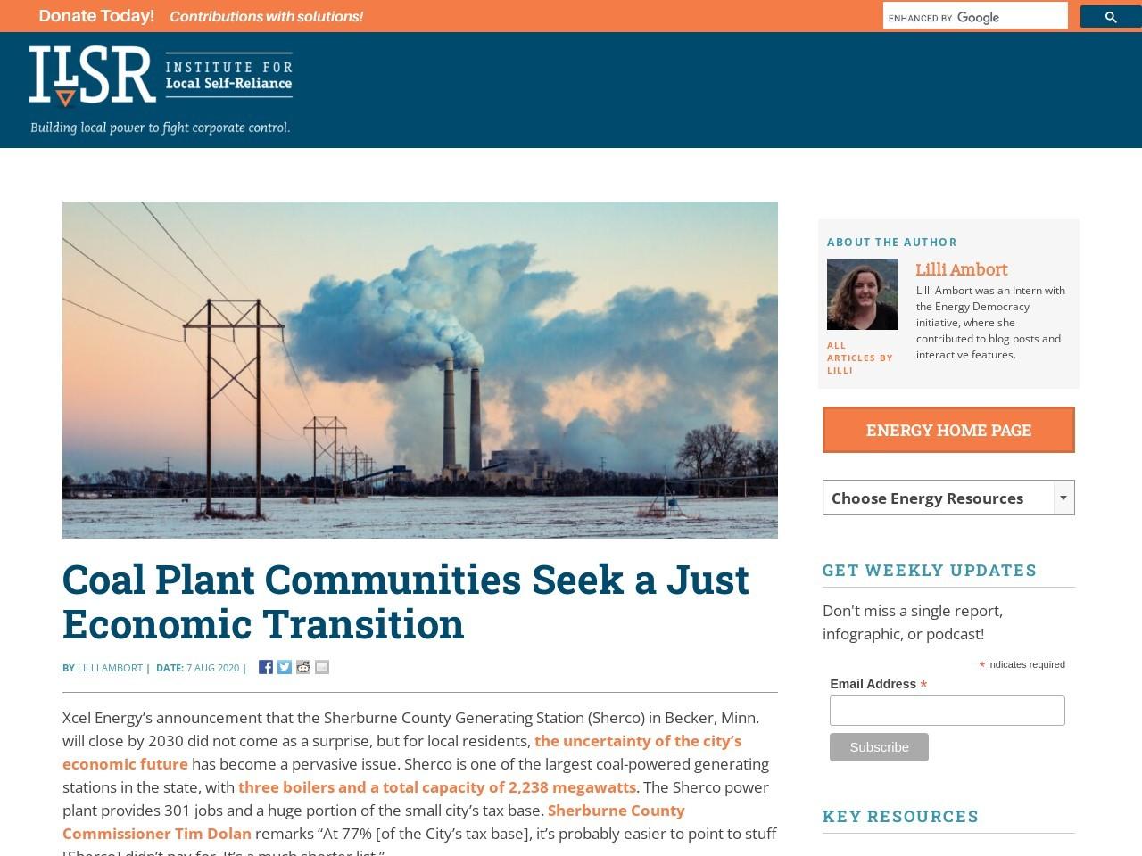 Coal Plant Communities Seek a Just Economic Transition