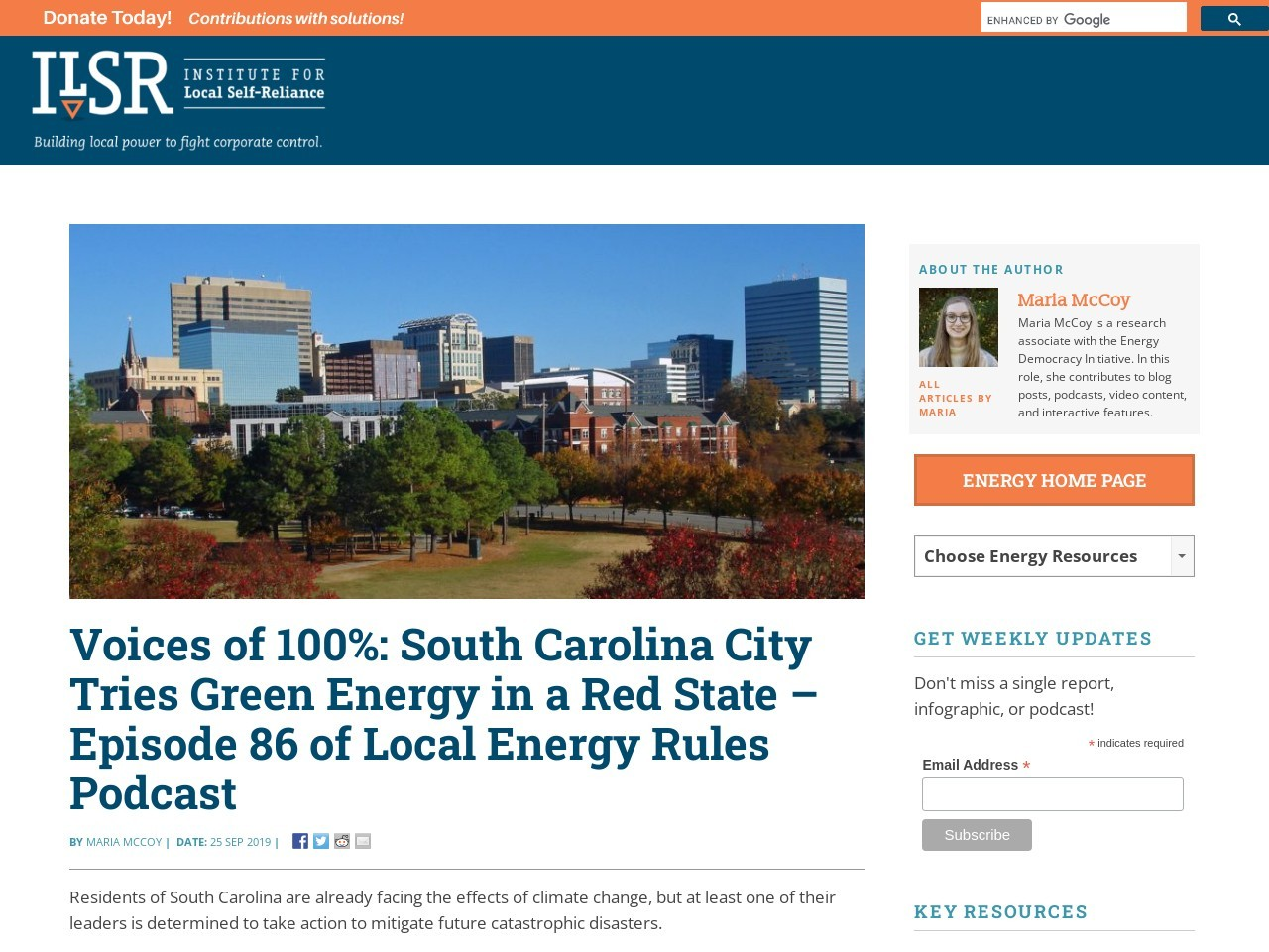 Voices of 100%: South Carolina City Tries Green Energy in a Red State