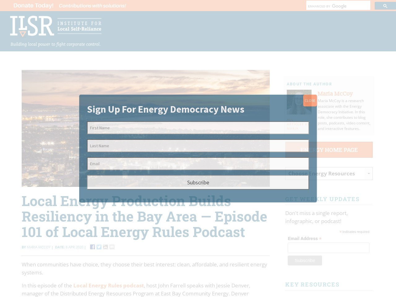 Local Energy Production Builds Resiliency in the Bay Area — Episode 101 of Local Energy Rules Podcast