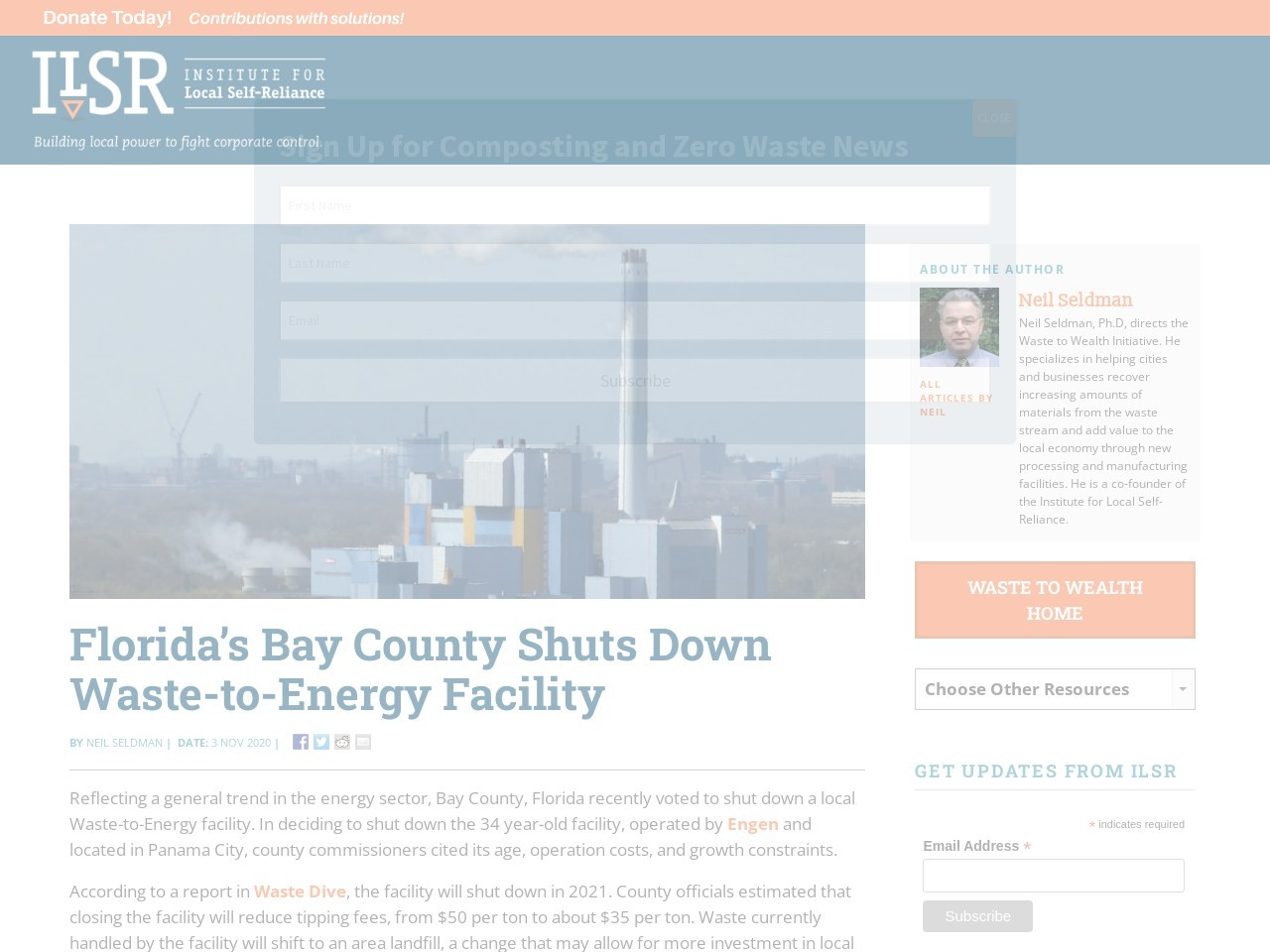 Florida's Bay County Shuts Down Waste-to-Energy Facility