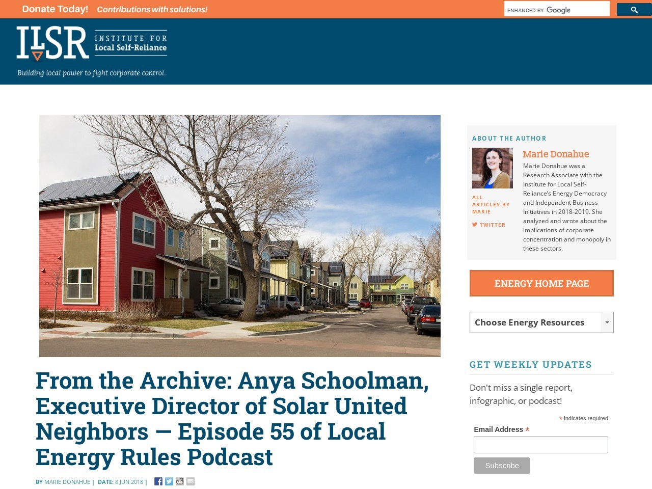 From the Archive: Anya Schoolman, Executive Director of Solar United Neighbors
