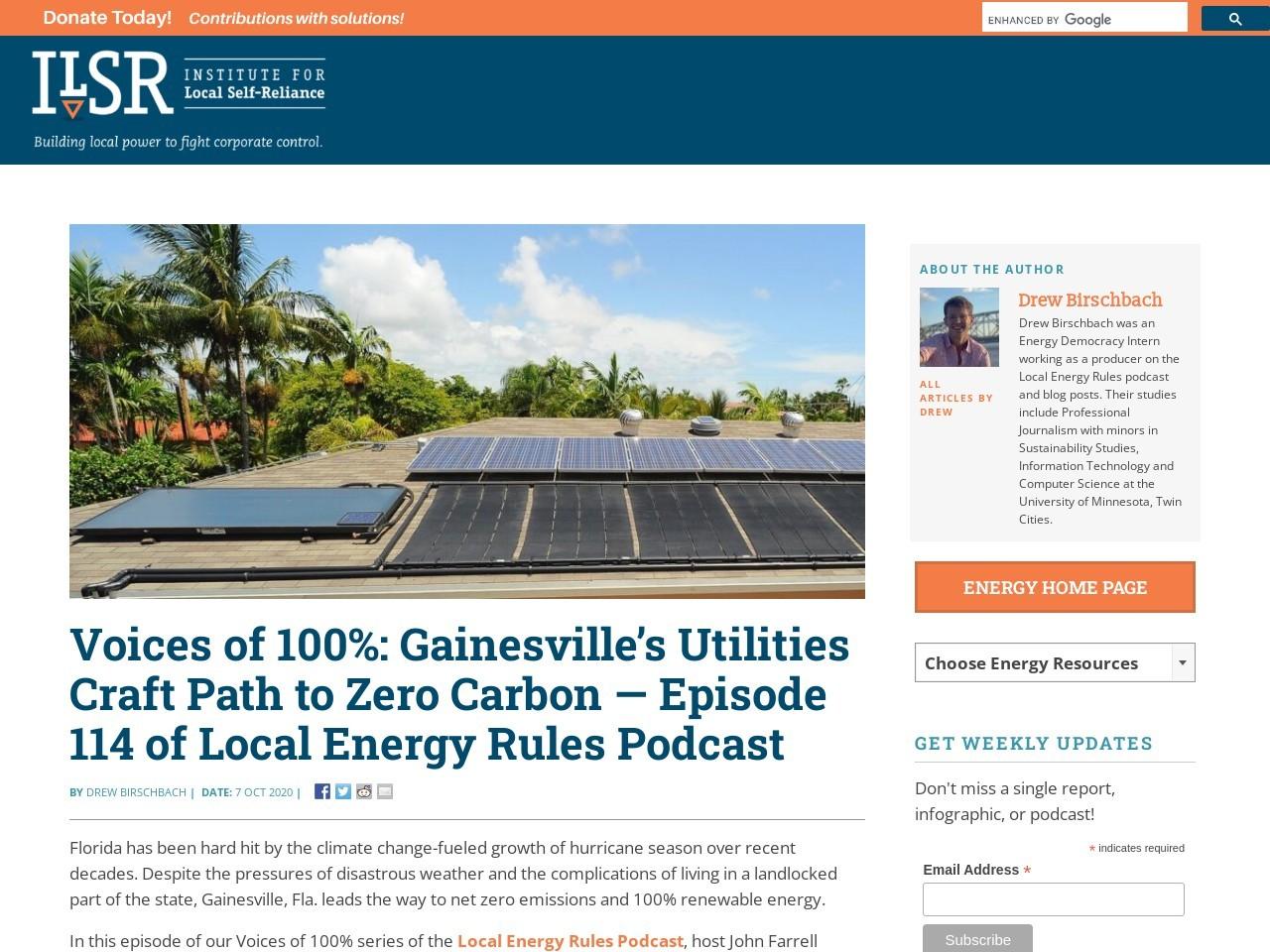 Voices of 100%: Gainesville's Utilities Craft Path to Zero Carbon