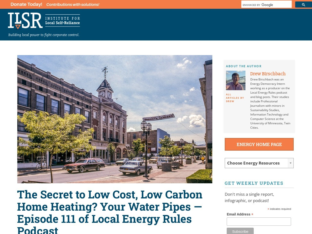 The Secret to Low Cost, Low Carbon Home Heating? Your Water Pipes — Episode 111 of Local Energy Rules Podcast