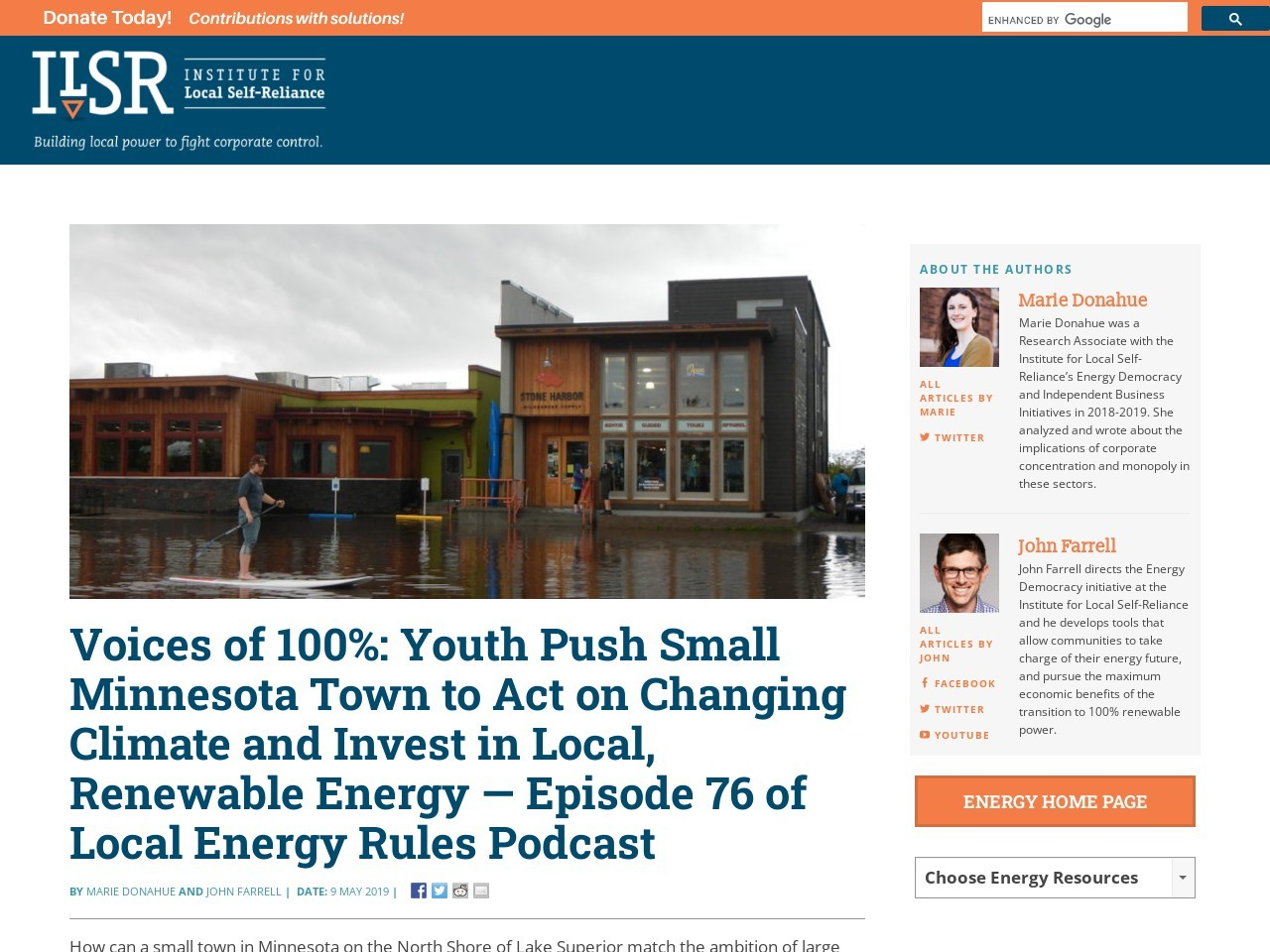 Voices of 100%: Youth Push Small Minnesota Town to Act on Changing Climate and Invest in Local, Renewable Energy