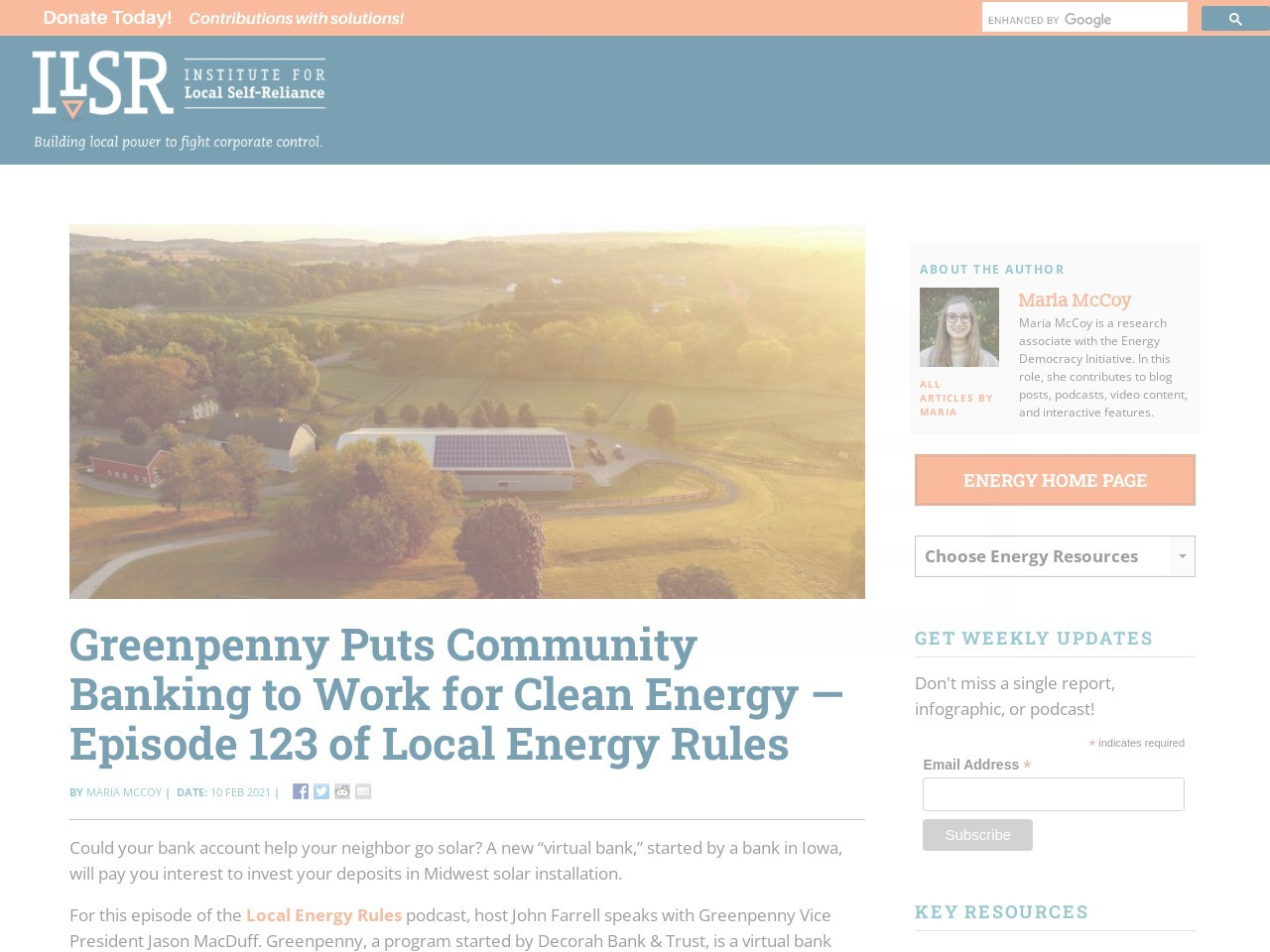 Greenpenny Puts Community Banking to Work for Clean Energy — Episode 123 of Local Energy Rules
