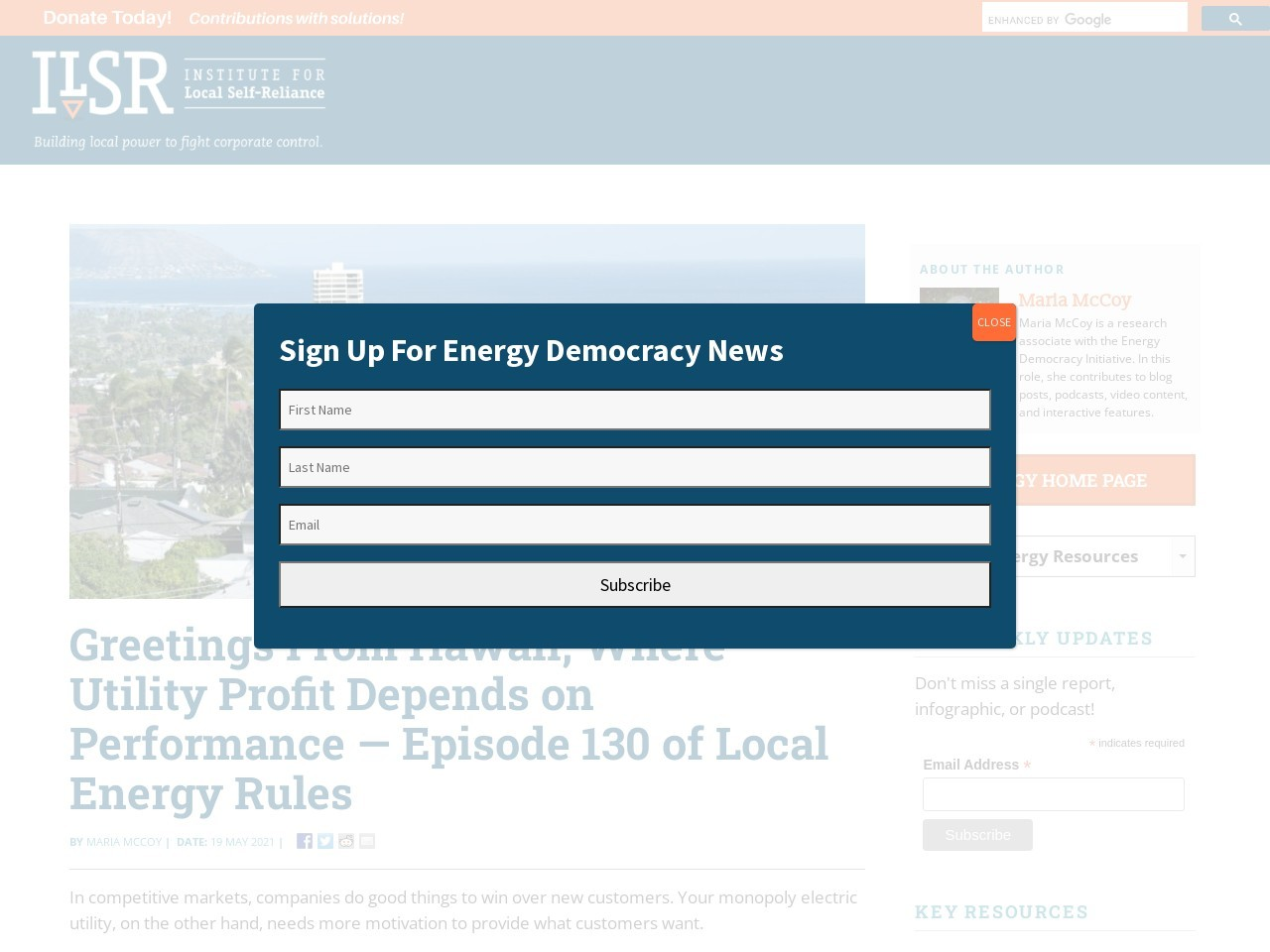 Greetings From Hawaii, Where Utility Profit Depends on Performance — Episode 130 of Local Energy Rules