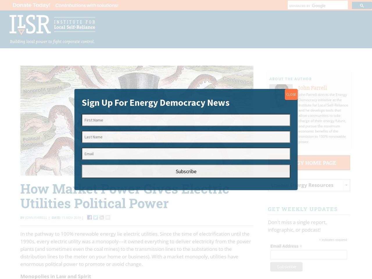 How Market Power Gives Electric Utilities Political Power