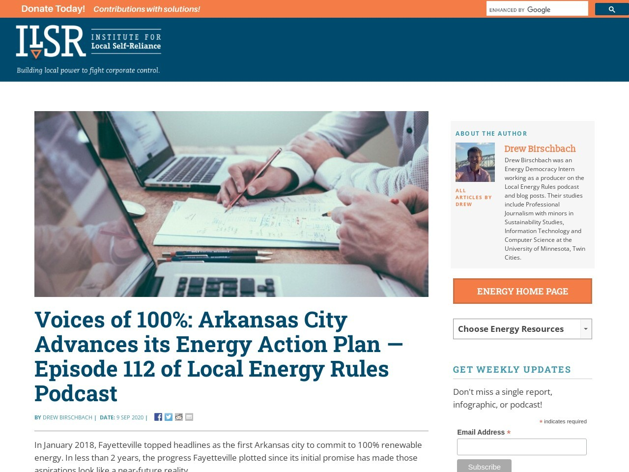 Voices of 100%: Arkansas City Advances its Energy Action Plan — Episode 112 of Local Energy Rules Podcast