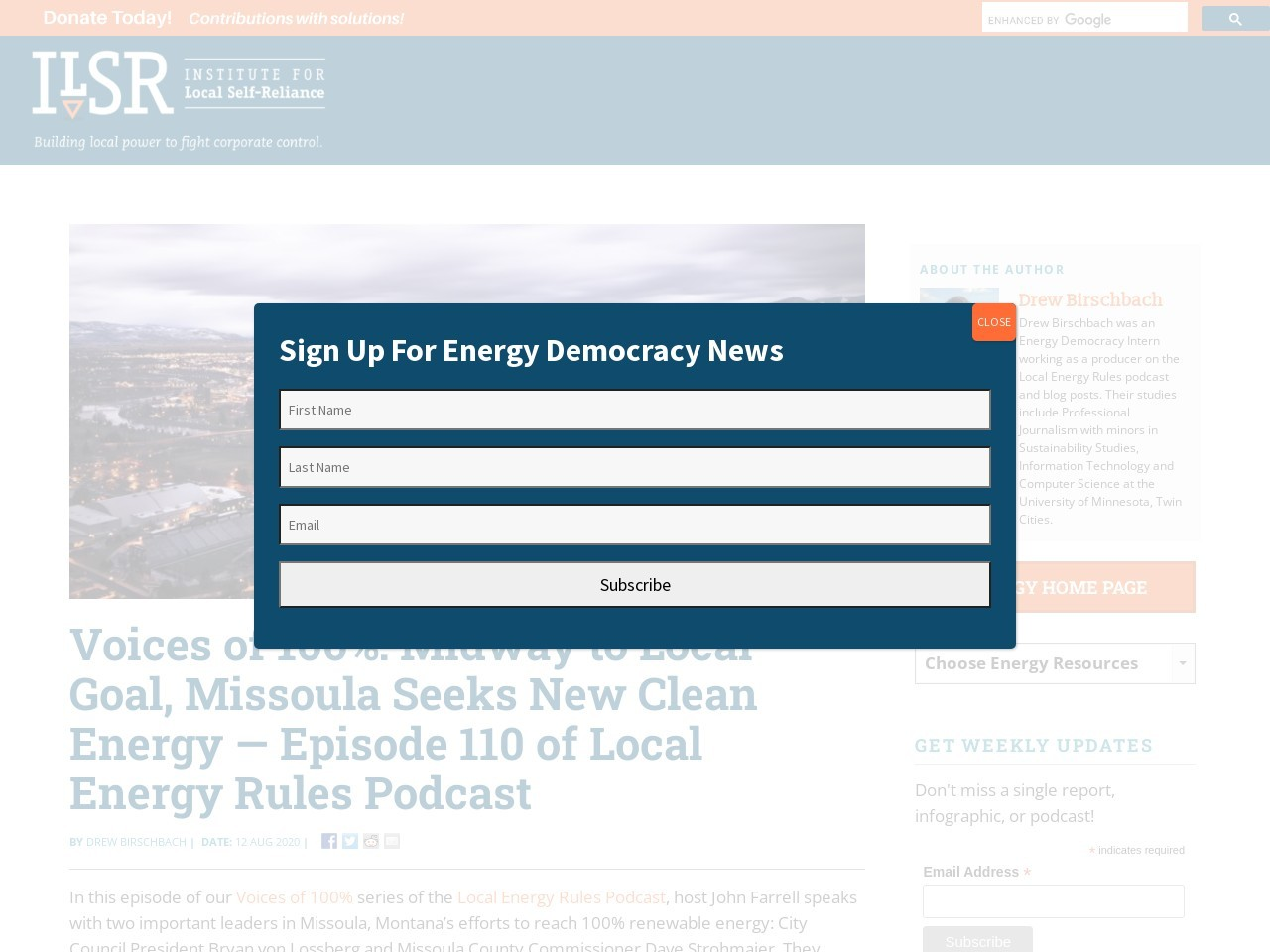 Voices of 100%: Midway to Local Goal, Missoula Seeks New Clean Energy — Episode 110 of Local Energy Rules Podcast