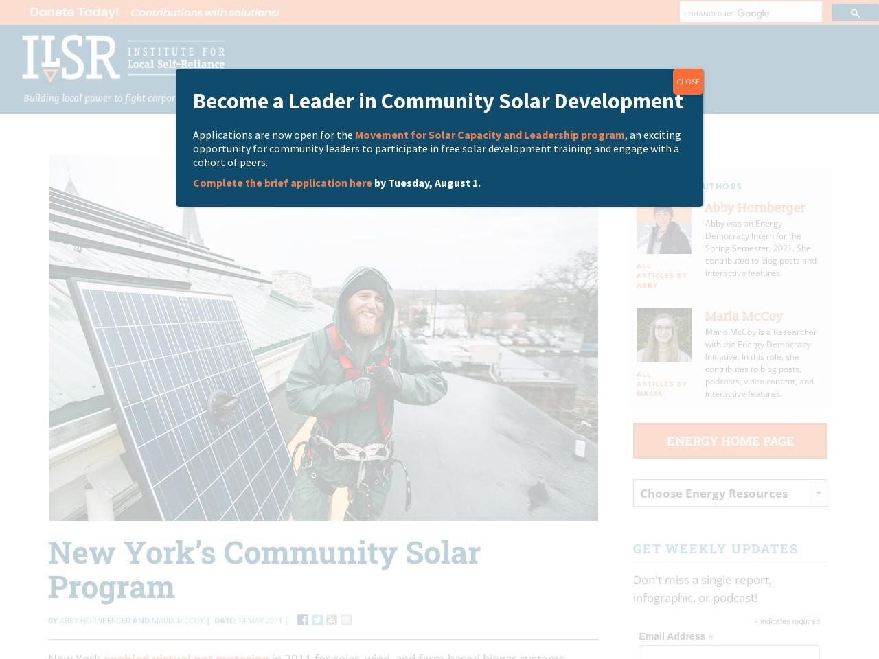 New York's Community Solar Program