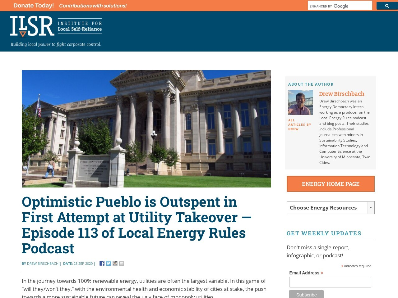 Optimistic Pueblo is Outspent in First Attempt at Utility Takeover — Episode 113 of Local Energy Rules Podcast