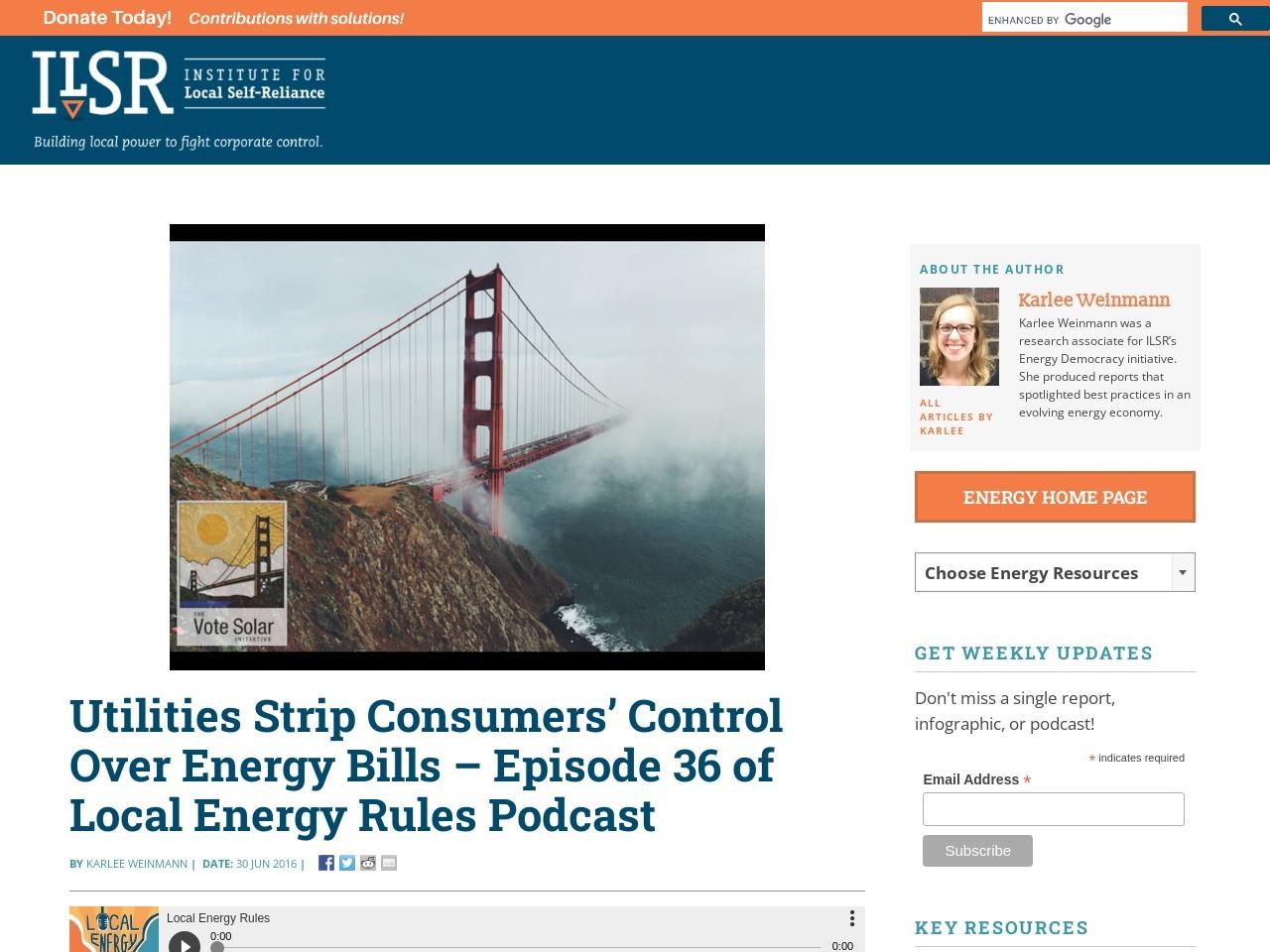 Utilities Strip Consumers' Control Over Energy Bills