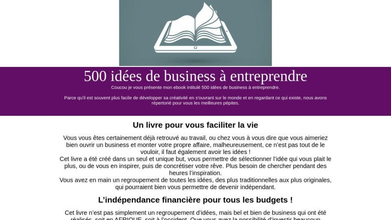 500 idees de business a entreprendre