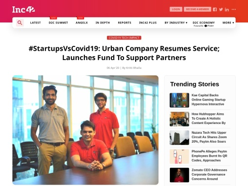 Urban Company Resumes Service; Launches Fund To Support Partners