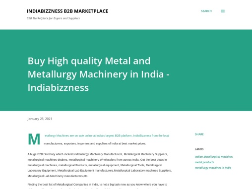 Buy High quality Metal and Metallurgy Machinery in India – Manufacturers and Suppliers – Indiabizzne