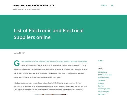 Electrical Products and Services – Business Directory of Manufacturers and Suppliers – IndiaBizzness