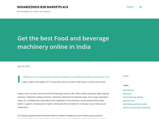 Buy Best Food and Beverage Processing Machinery Online in India – IndiaBizzness