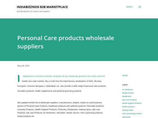 Business Directory of Personal Care Products Buyers Sellers Traders – Purchase Personal Care product