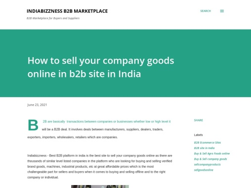 Sell Your Company Goods Online – IndiaBizzness B2B Site – Best Deal on Consumer Goods