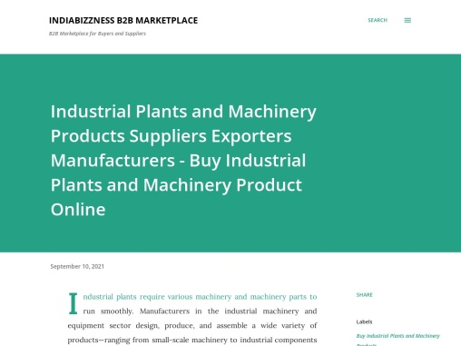 Industrial Plants and Machinery Products Suppliers Exporters Manufacturers – Buy Industrial Plants