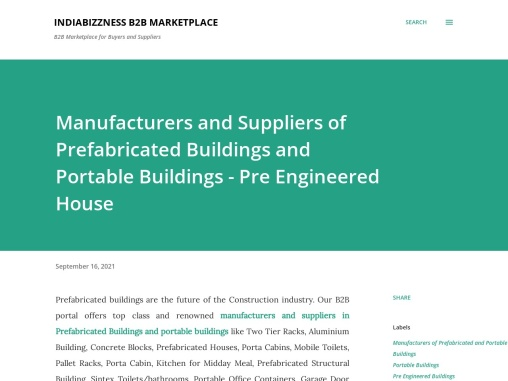 Manufacturers and Suppliers of Prefabricated Buildings and Portable Buildings – Pre Engineered House