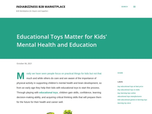 Educational Toys Matter for Kids' Mental Health and Education – IndiaBizzness